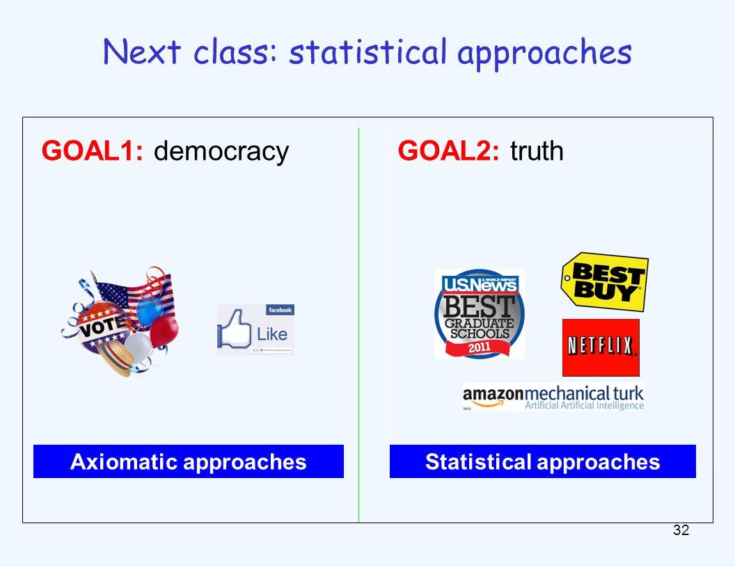 32 Next class: statistical approaches GOAL1: democracy GOAL2: truth Axiomatic approachesStatistical approaches