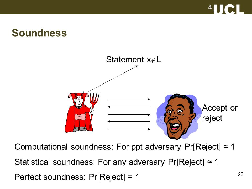 Computational soundness: For ppt adversary Pr[Reject] ≈ 1 Statistical soundness: For any adversary Pr[Reject] ≈ 1 Perfect soundness: Pr[Reject] = 1 Accept or reject Statement x  L Soundness 23