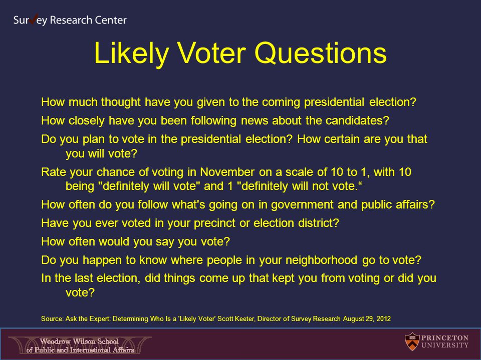 Likely Voter Questions How much thought have you given to the coming presidential election.