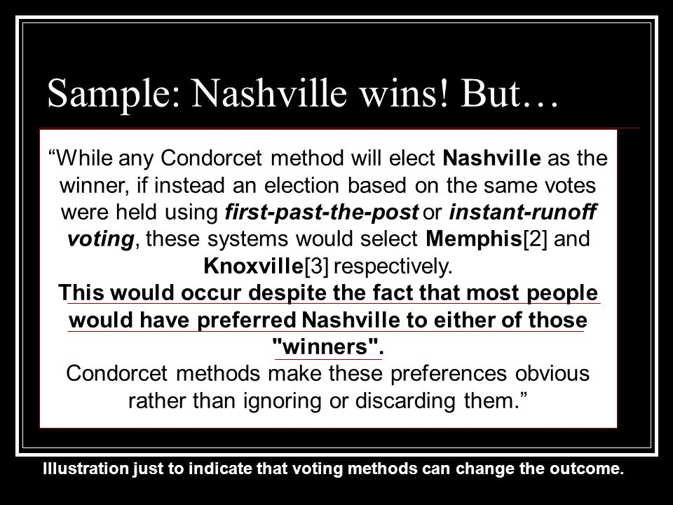 Sample: Nashville wins.