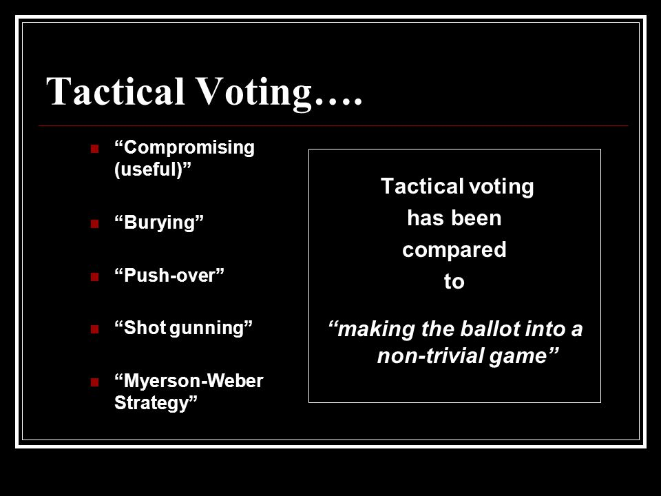 Tactical Voting….