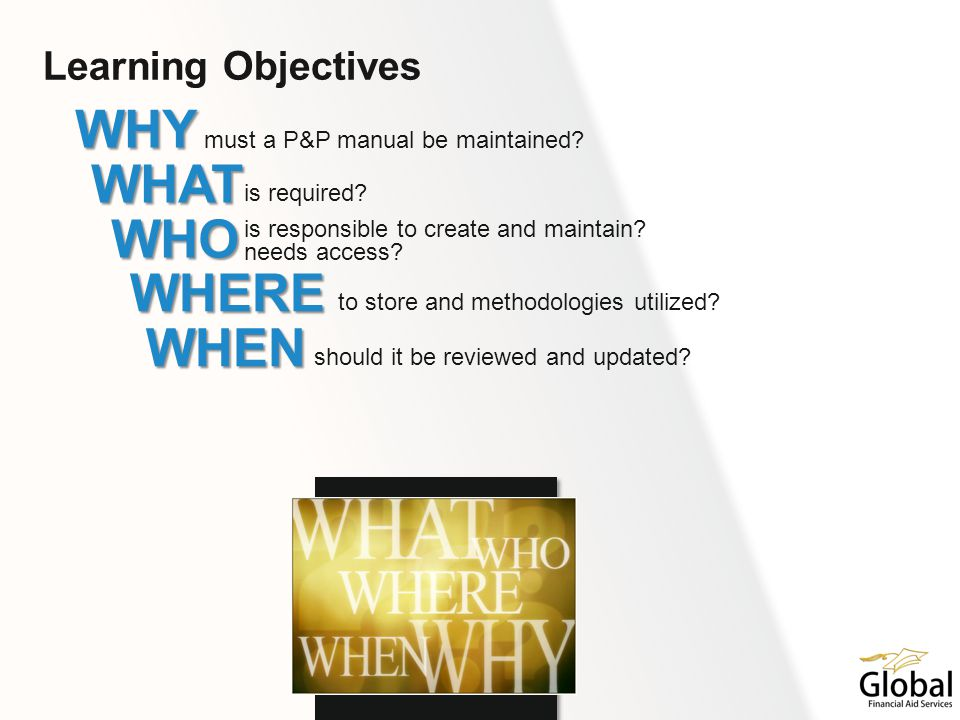 Learning Objectives WHY must a P&P manual be maintained? WHAT is required? WHO is responsible to create and maintain? needs access? WHERE to store and