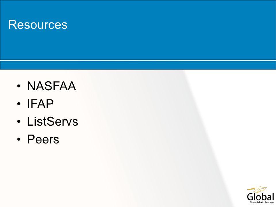 NASFAA IFAP ListServs Peers Resources