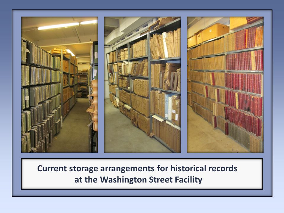 Current storage arrangements for historical records at the Washington Street Facility