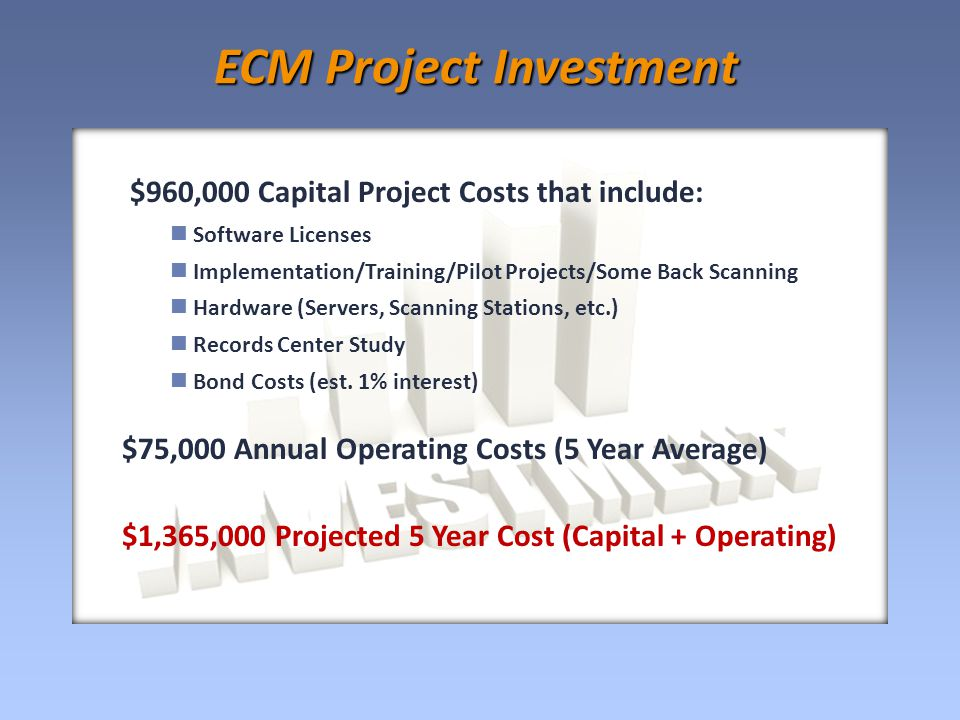 $960,000 Capital Project Costs that include: Software Licenses Implementation/Training/Pilot Projects/Some Back Scanning Hardware (Servers, Scanning Stations, etc.) Records Center Study Bond Costs (est.