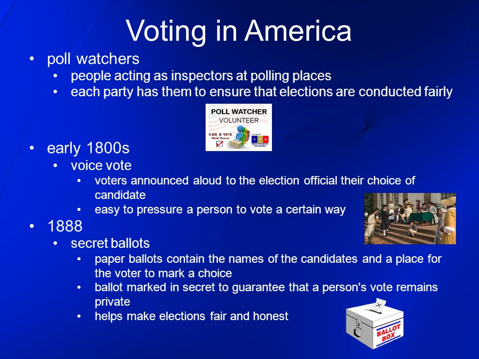 Voting in America poll watchers people acting as inspectors at polling places each party has them to ensure that elections are conducted fairly early