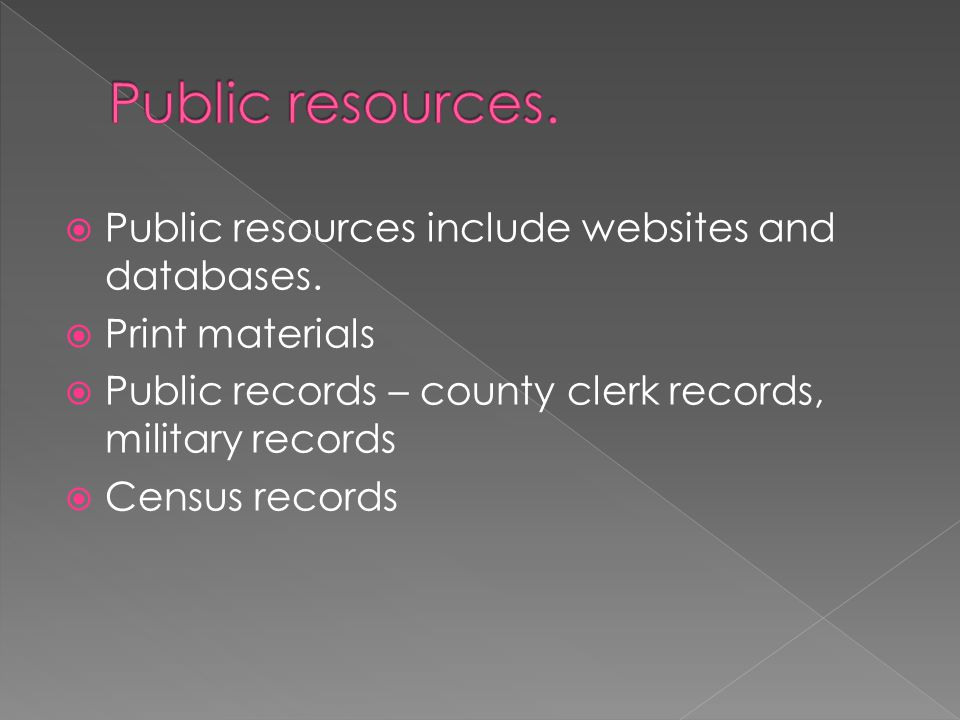  Public resources include websites and databases.