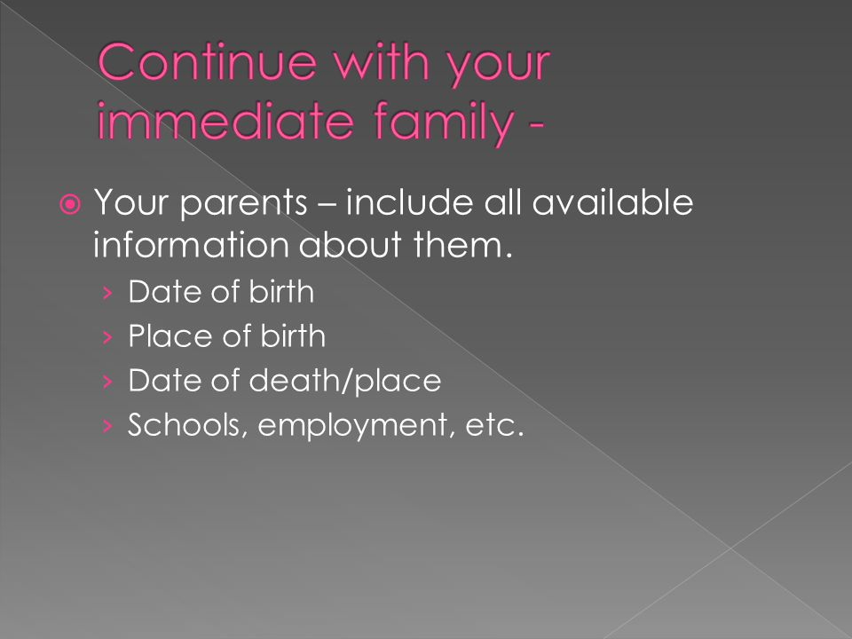  Your parents – include all available information about them.