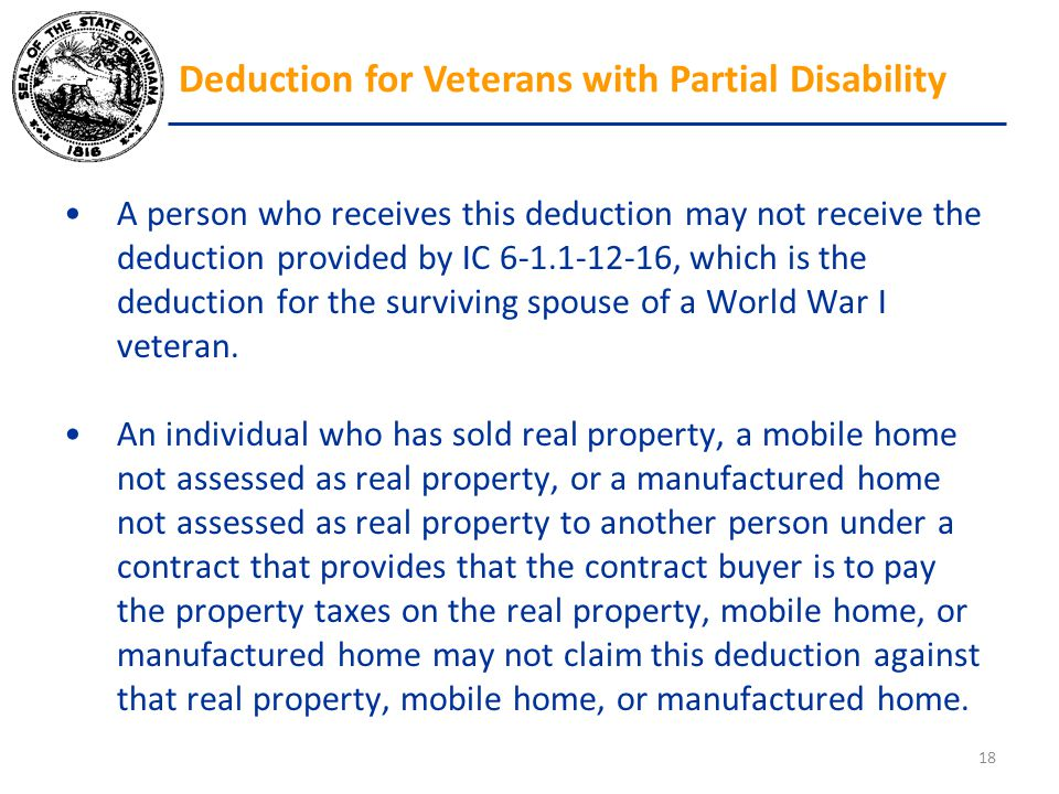 A person who receives this deduction may not receive the deduction provided by IC 6-1.1-12-16, which is the deduction for the surviving spouse of a Wo