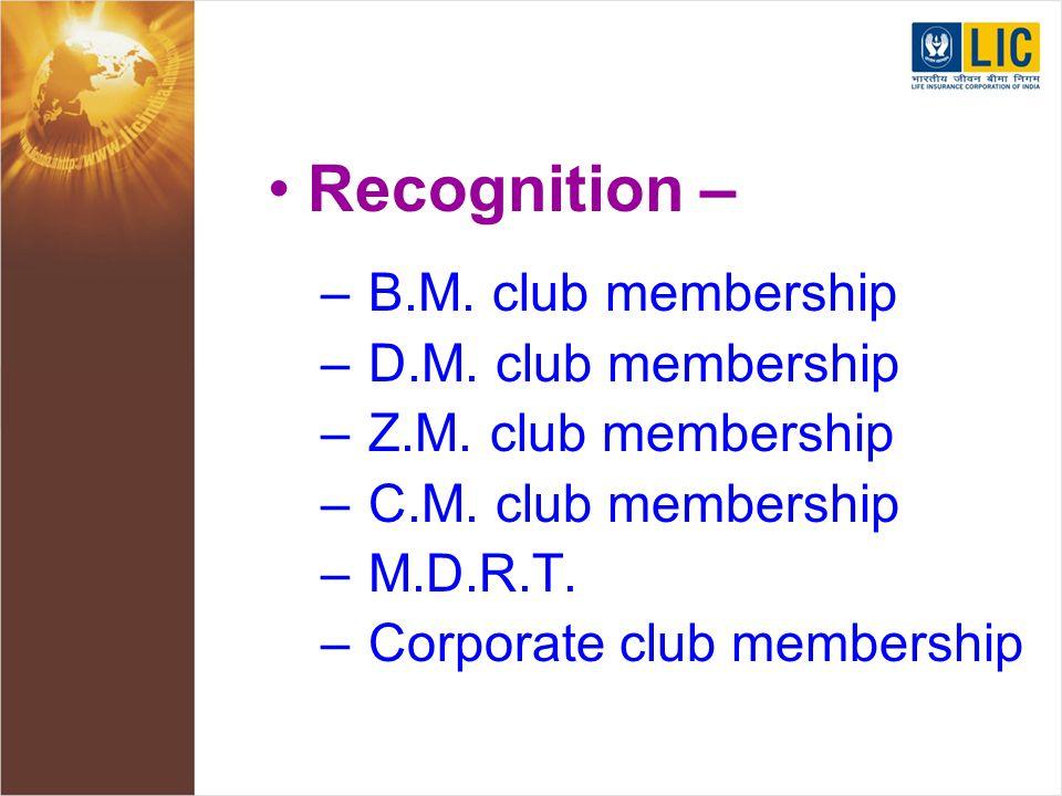 Recognition – – B.M. club membership – D.M. club membership – Z.M.
