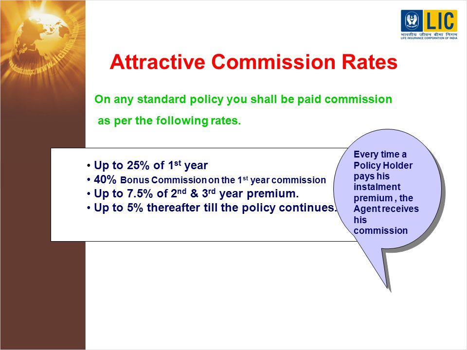 Attractive Commission Rates On any standard policy you shall be paid commission as per the following rates.