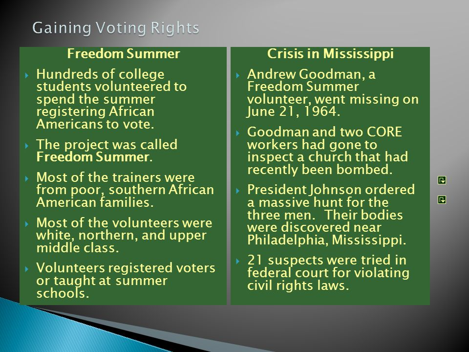 Freedom Summer  Hundreds of college students volunteered to spend the summer registering African Americans to vote.  The project was called Freedom