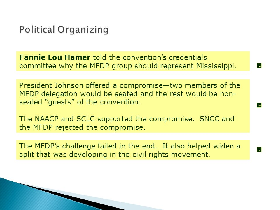 Fannie Lou Hamer told the convention's credentials committee why the MFDP group should represent Mississippi. President Johnson offered a compromise—t