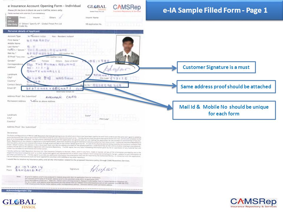 Bank IFSC Code No Authorized Representative should be a major only e-IA Sample Filled Form - Page 2