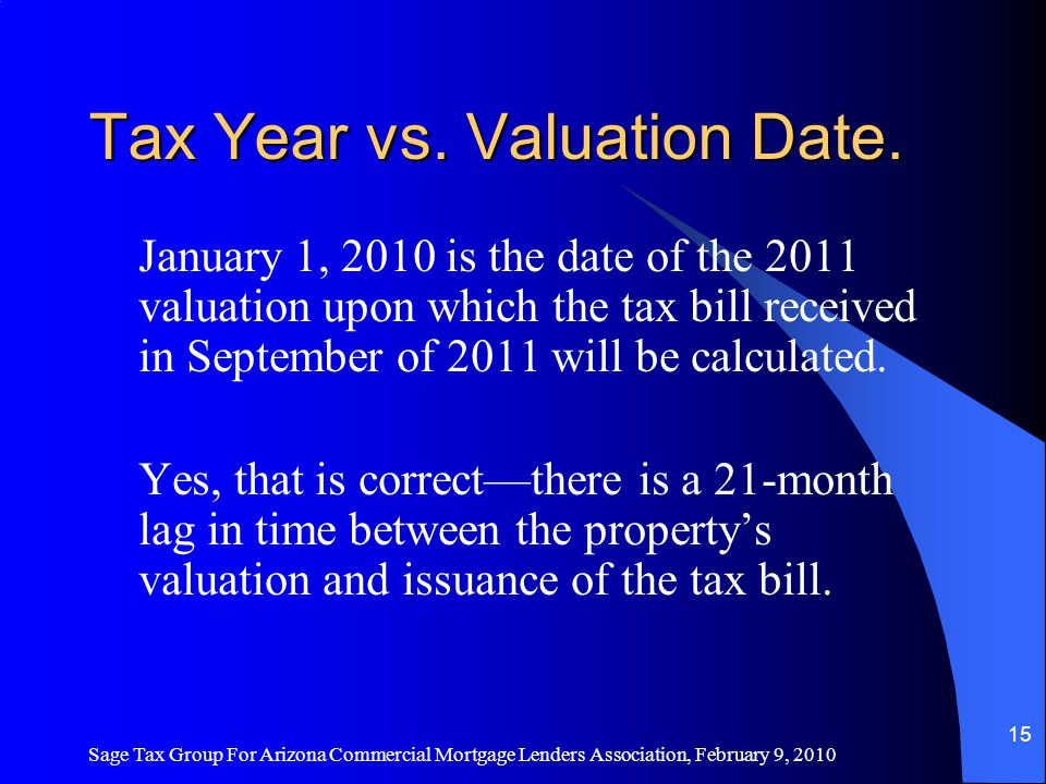 Sage Tax Group For Arizona Commercial Mortgage Lenders Association, February 9, 2010 14 Timelines – Why 2011.