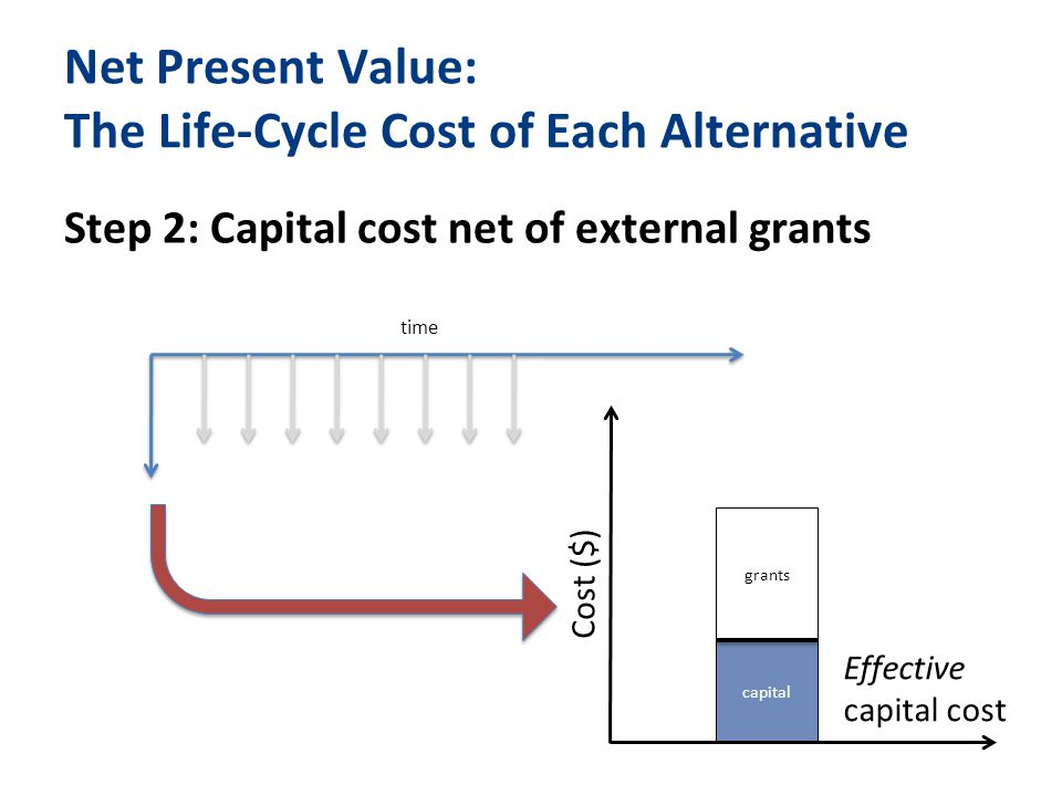Net Present Value: The Life-Cycle Cost of Each Alternative Step 2: Capital cost net of external grants capital time Cost ($) grants Effective capital cost