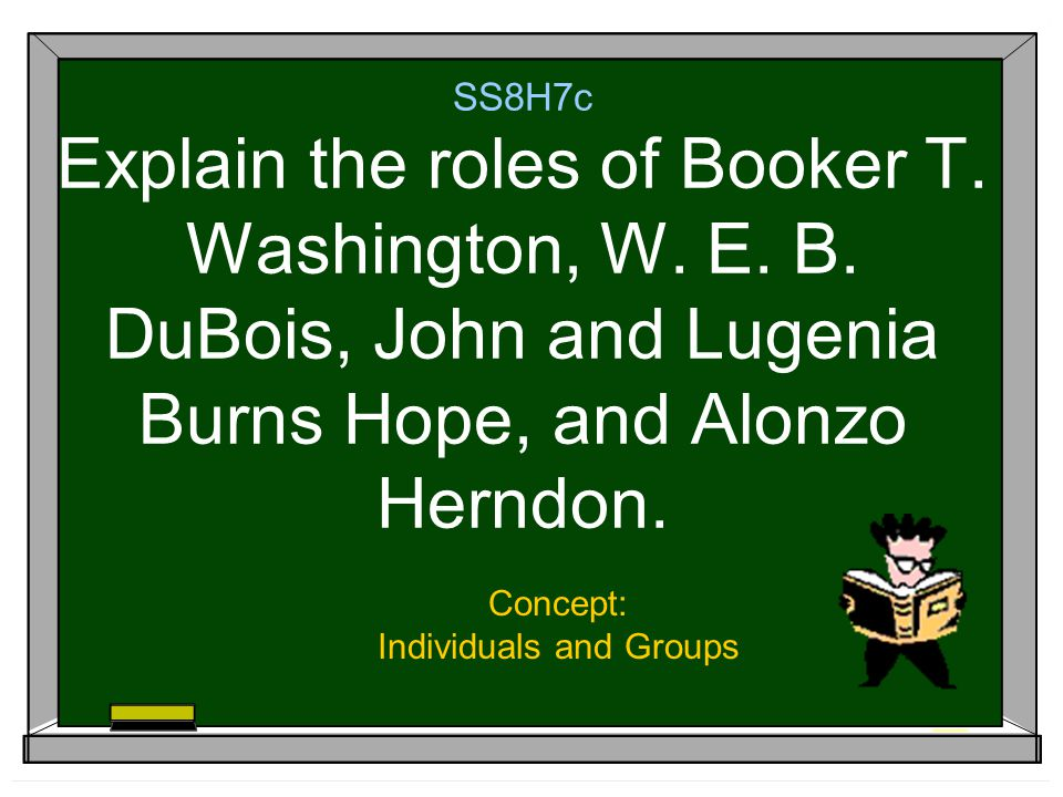 SS8H7c Explain the roles of Booker T. Washington, W.