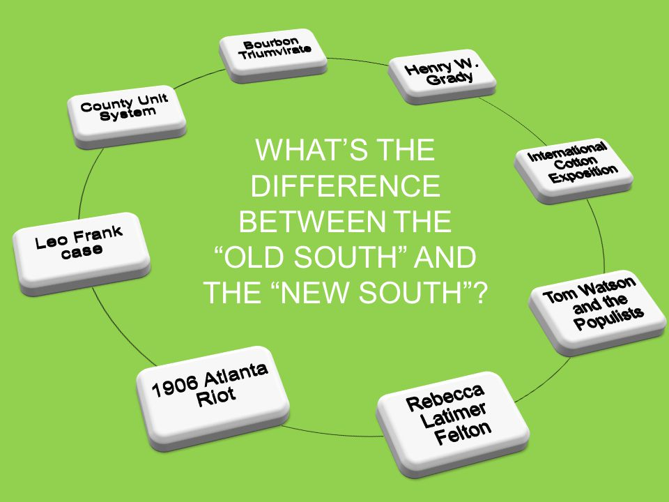 WHAT'S THE DIFFERENCE BETWEEN THE OLD SOUTH AND THE NEW SOUTH