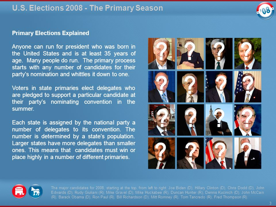 Primary Elections Explained Anyone can run for president who was born in the United States and is at least 35 years of age.