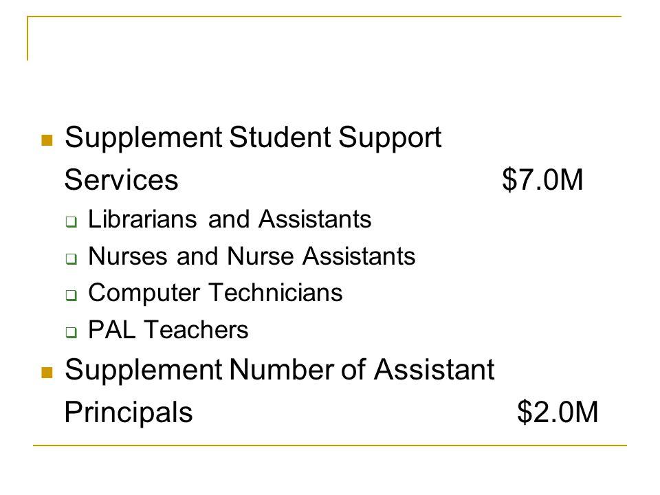 Supplement Student Support Services $7.0M  Librarians and Assistants  Nurses and Nurse Assistants  Computer Technicians  PAL Teachers Supplement Number of Assistant Principals $2.0M