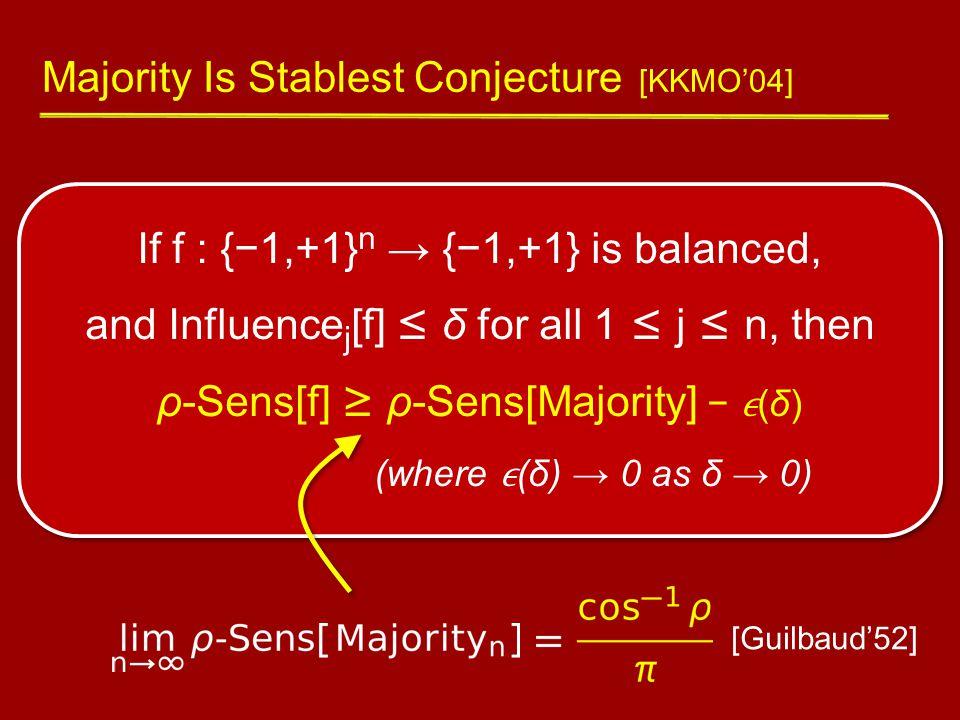 If f : {−1,+1} n → {−1,+1} is balanced, and Influence j [f] ≤ δ for all 1 ≤ j ≤ n, then ρ-Sens[f] ≥ ρ-Sens[Majority] − (δ) (where (δ) → 0 as δ → 0) Majority Is Stablest Conjecture [KKMO'04] [Guilbaud'52]