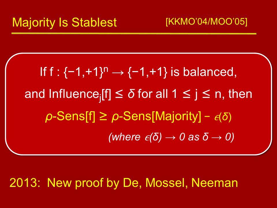 If f : {−1,+1} n → {−1,+1} is balanced, and Influence j [f] ≤ δ for all 1 ≤ j ≤ n, then ρ-Sens[f] ≥ ρ-Sens[Majority] − (δ) (where (δ) → 0 as δ → 0) Majority Is Stablest [KKMO'04/MOO'05] 2013: New proof by De, Mossel, Neeman