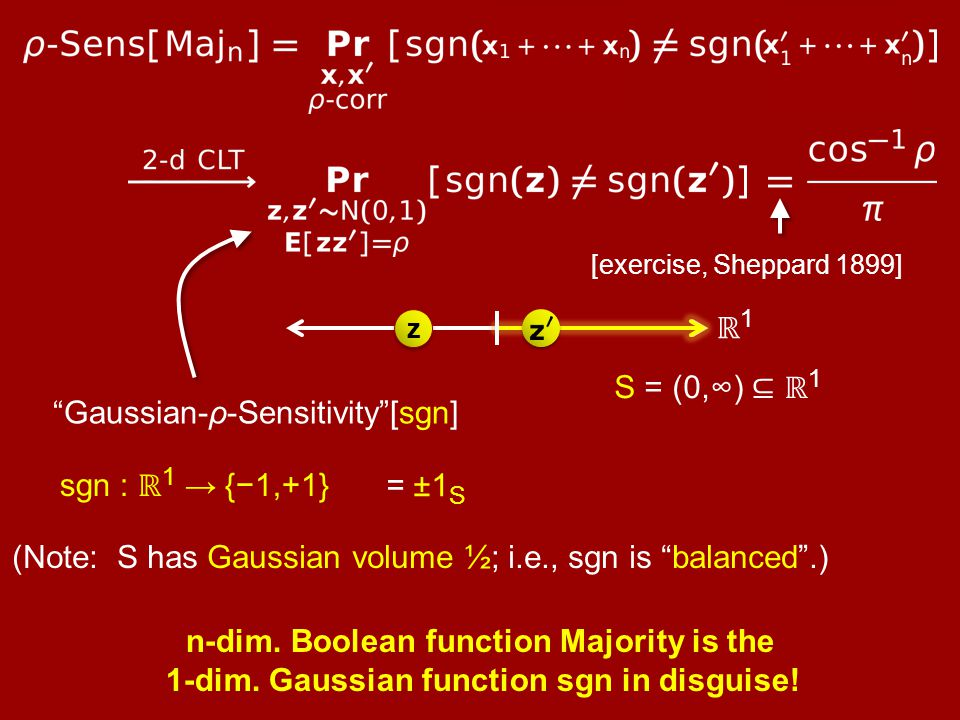 "[exercise, Sheppard 1899] ""Gaussian-ρ-Sensitivity""[sgn] sgn : ℝ 1 → {−1,+1} ℝ1ℝ1 = ±1 S (Note: S has Gaussian volume ½; i.e., sgn is ""balanced"".) n-di"