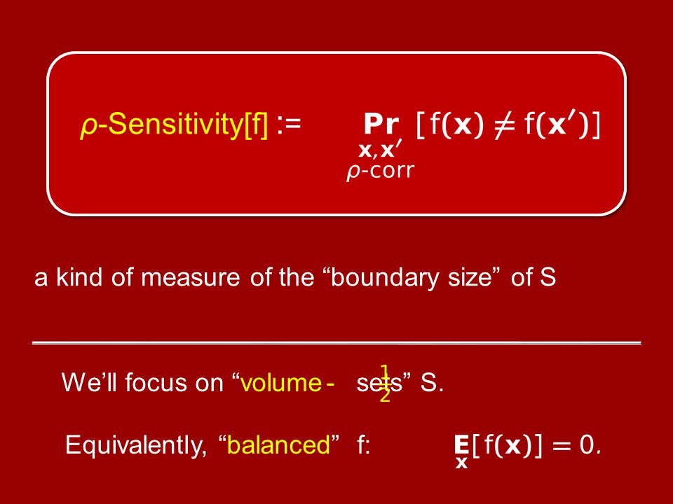 If f : {−1,+1} n → {−1,+1} is balanced, and Influence j [f] ≤ δ for all 1 ≤ j ≤ n, then ρ-Sens[f] ≥ ρ-Sens[Majority] − (δ) (where (δ) → 0 as δ → 0) Majority Is Stablest Conjecture [KKMO'04] [Guilbaud'52]
