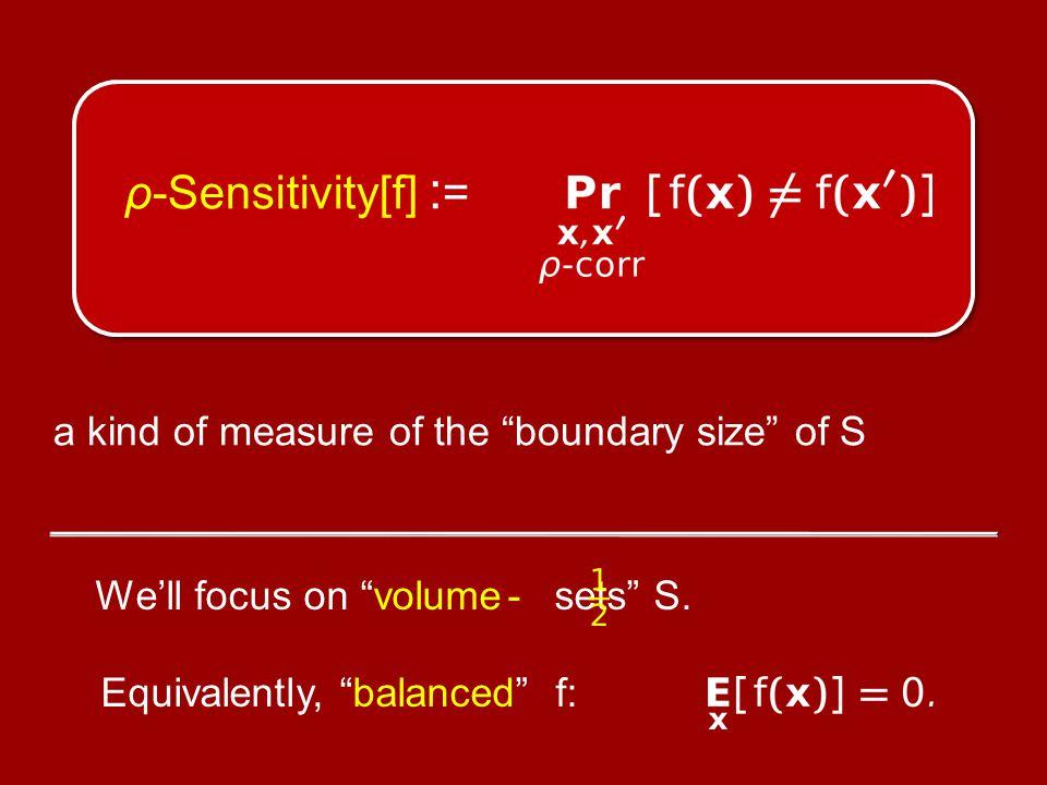 ρ-Sensitivity[f] : = a kind of measure of the boundary size of S We'll focus on volume - sets S.