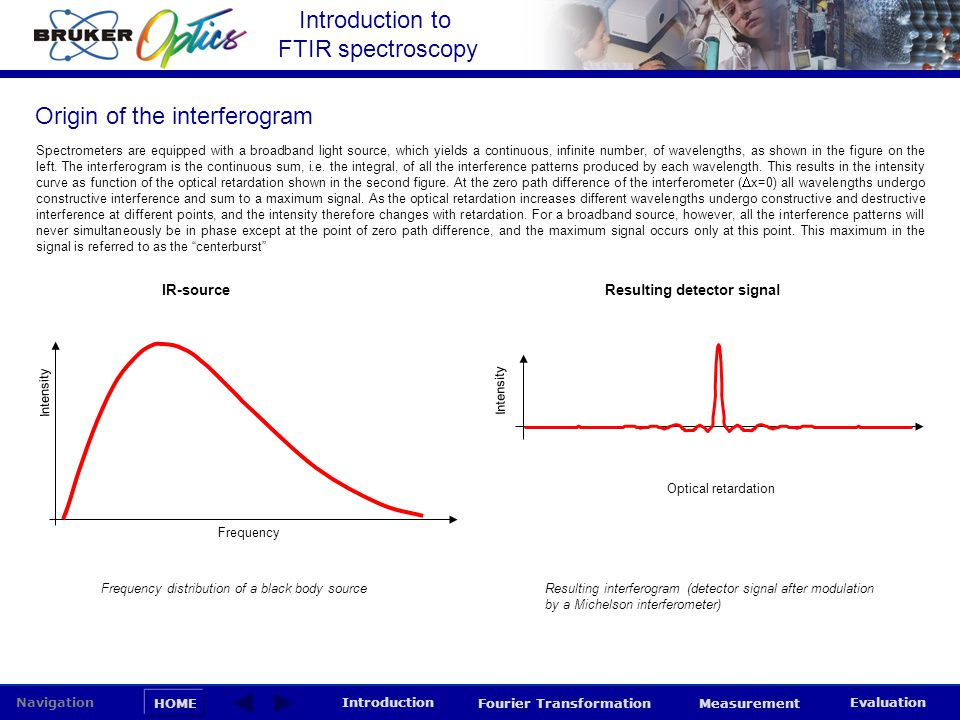 Introduction to FTIR spectroscopy HOME Navigation Introduction Fourier Transformation Measurement Evaluation Spectrometers are equipped with a broadba