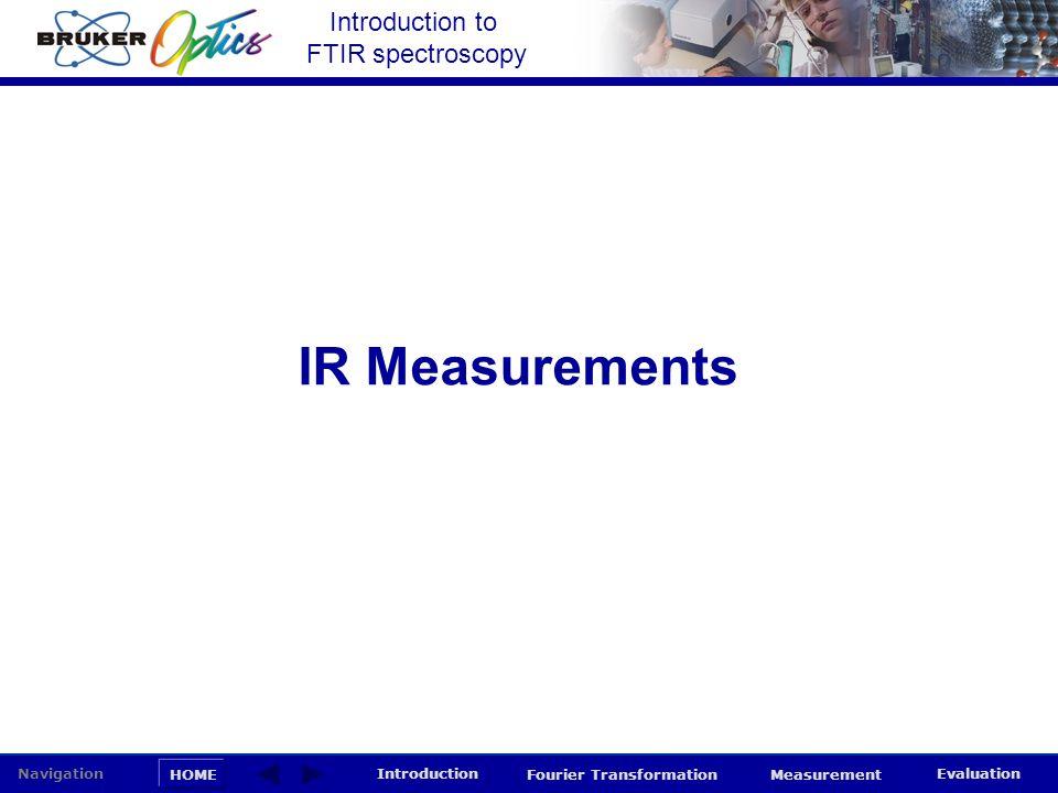 Introduction to FTIR spectroscopy HOME Navigation Introduction Fourier Transformation Measurement Evaluation IR Measurements