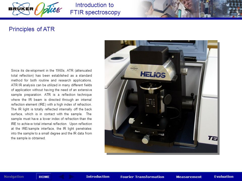 Introduction to FTIR spectroscopy HOME Navigation Introduction Fourier Transformation Measurement Evaluation Since its development in the 1960s, ATR (
