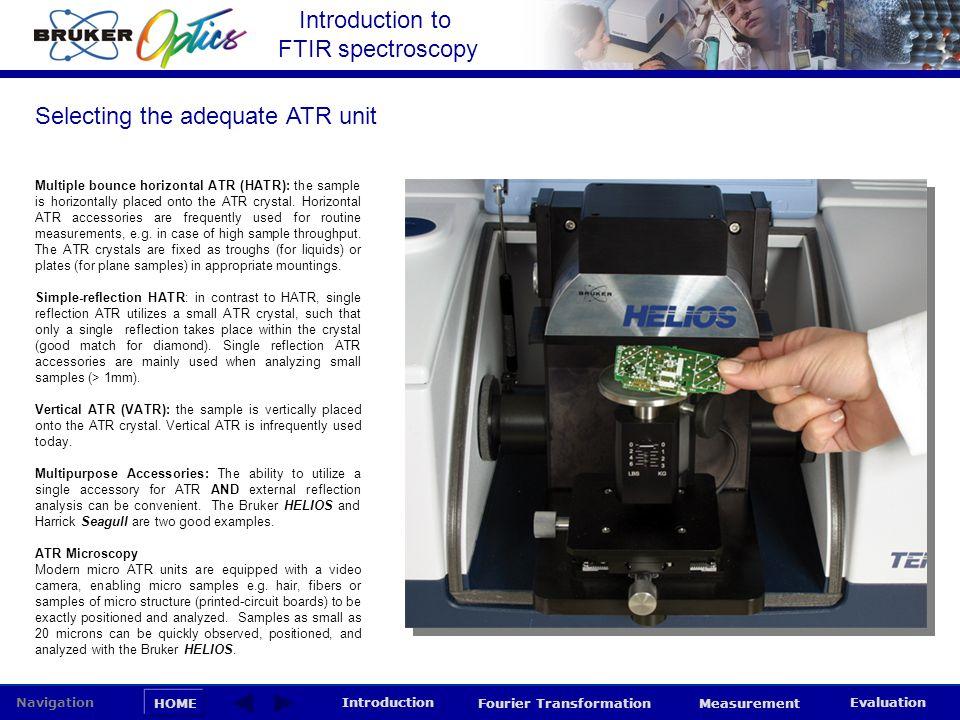 Introduction to FTIR spectroscopy HOME Navigation Introduction Fourier Transformation Measurement Evaluation Multiple bounce horizontal ATR (HATR): th
