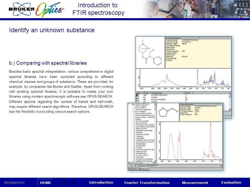 Introduction to FTIR spectroscopy HOME Navigation Introduction Fourier Transformation Measurement Evaluation Besides basic spectral interpretation, va