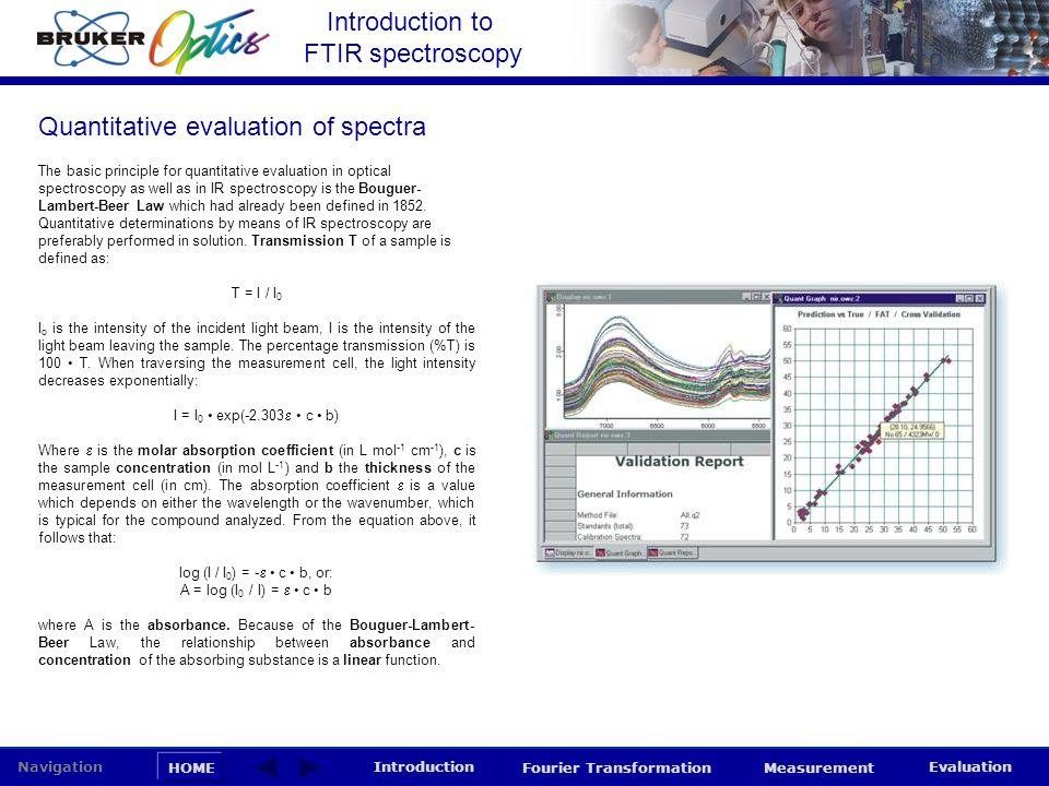 Introduction to FTIR spectroscopy HOME Navigation Introduction Fourier Transformation Measurement Evaluation The basic principle for quantitative eval