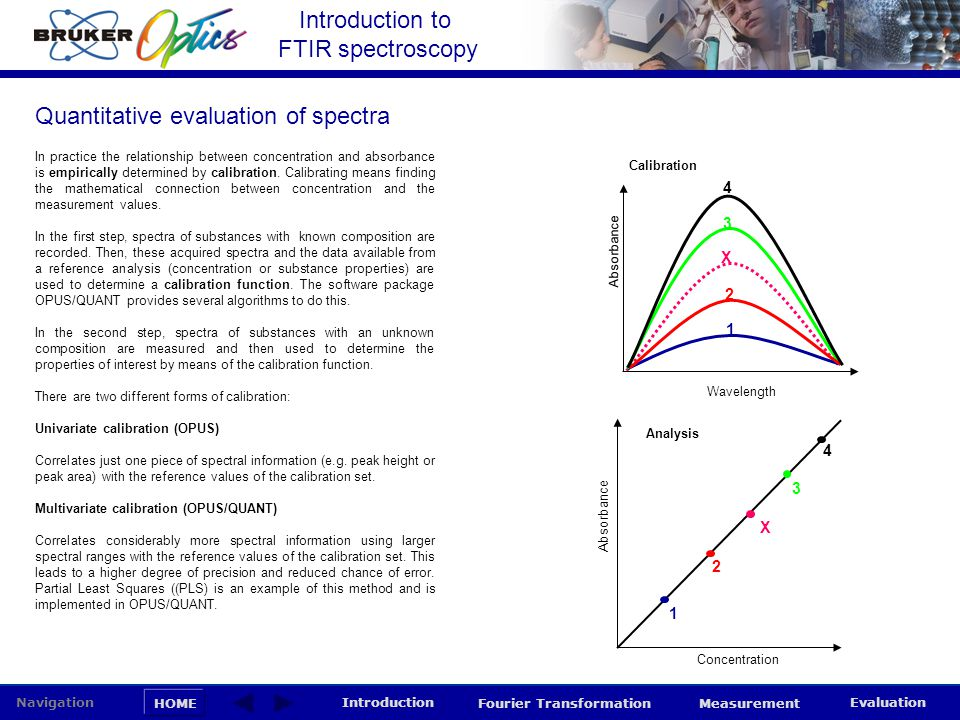 Introduction to FTIR spectroscopy HOME Navigation Introduction Fourier Transformation Measurement Evaluation In PLS, the calibration involves correlating the data in the spectral matrix X with the data in the concentration (or properties) matrix Y.