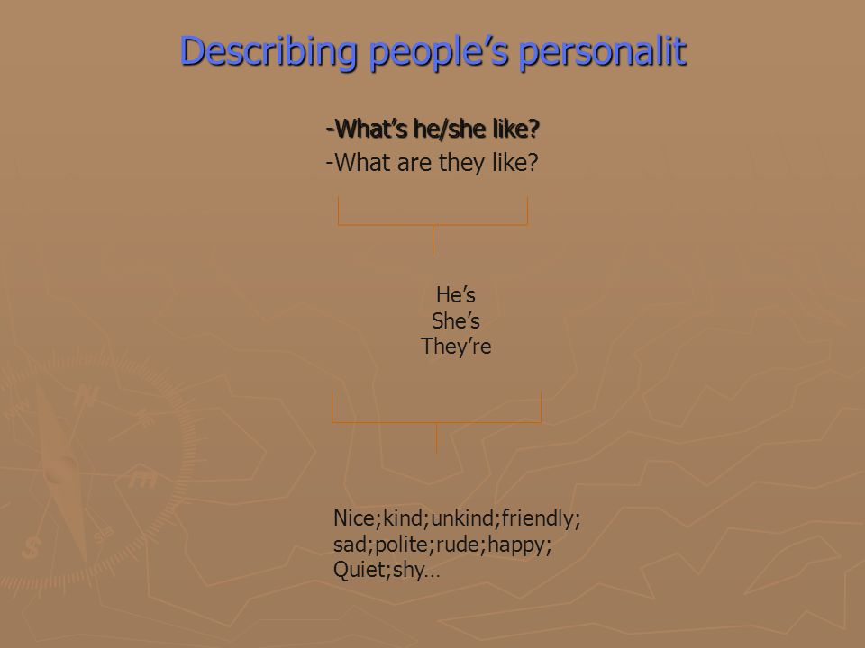 Describing people's personalit -What's he/she like.
