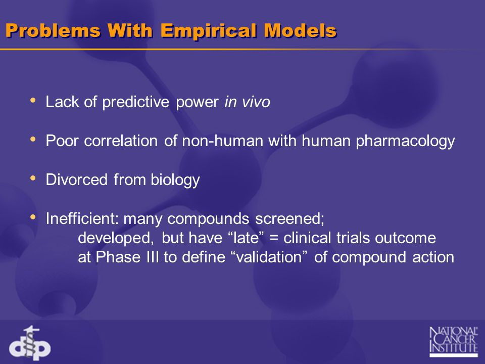 Problems With Empirical Models Lack of predictive power in vivo Poor correlation of non-human with human pharmacology Divorced from biology Inefficien