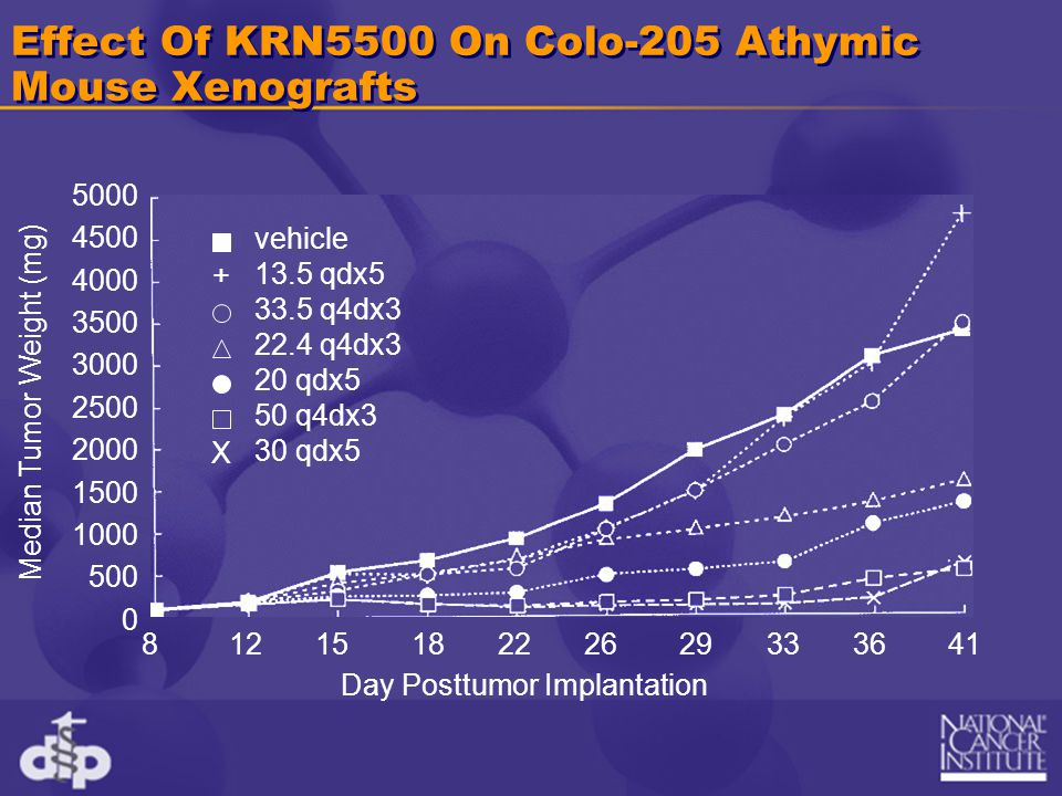 Effect Of KRN5500 On Colo-205 Athymic Mouse Xenografts Median Tumor Weight (mg) Day Posttumor Implantation 5000 4500 4000 3500 3000 2500 2000 1500 100