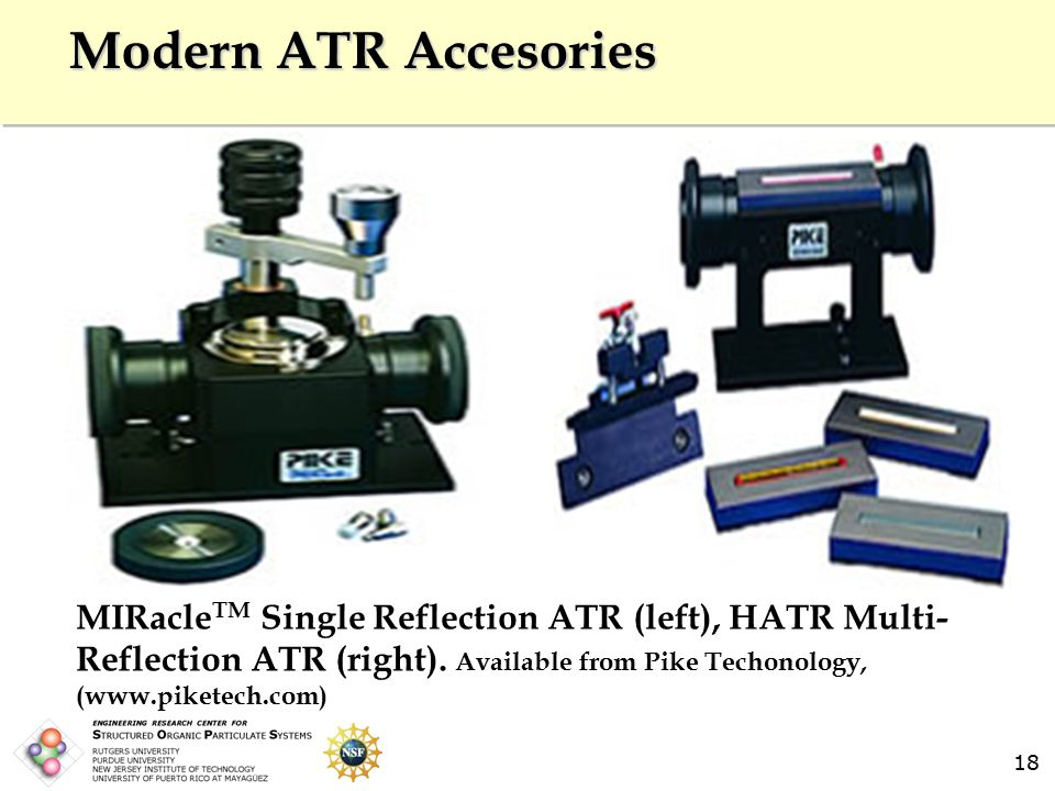 18 Modern ATR Accesories MIRacle TM Single Reflection ATR (left), HATR Multi- Reflection ATR (right).