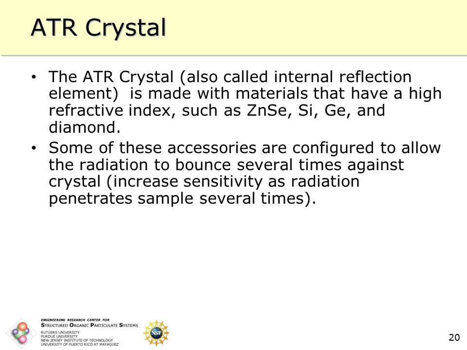 20 ATR Crystal The ATR Crystal (also called internal reflection element) is made with materials that have a high refractive index, such as ZnSe, Si, Ge, and diamond.