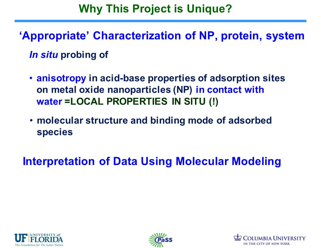 'Appropriate' Characterization of NP, protein, system In situ probing of anisotropy in acid-base properties of adsorption sites on metal oxide nanoparticles (NP) in contact with water =LOCAL PROPERTIES IN SITU (!) molecular structure and binding mode of adsorbed species Why This Project is Unique.
