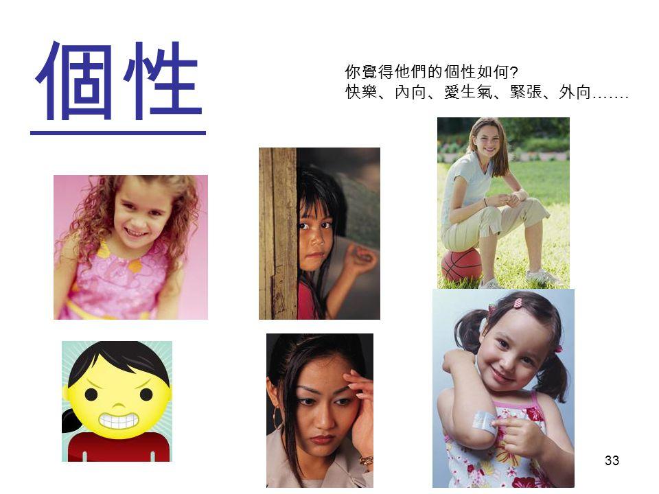 個性個性 33 你覺得他們的個性如何 快樂、內向、愛生氣、緊張、外向 …….