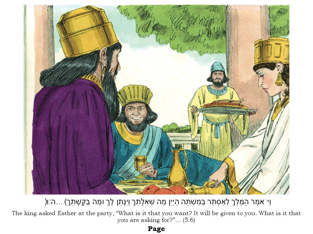 The king asked Esther at the party, What is it that you want.