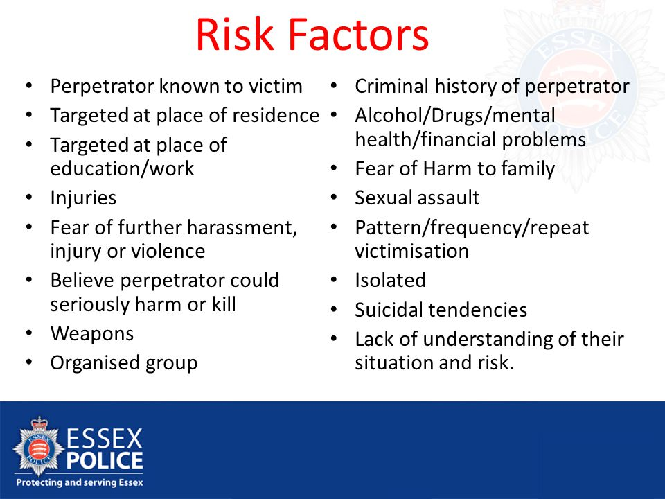Risk Factors Perpetrator known to victim Targeted at place of residence Targeted at place of education/work Injuries Fear of further harassment, injury or violence Believe perpetrator could seriously harm or kill Weapons Organised group Criminal history of perpetrator Alcohol/Drugs/mental health/financial problems Fear of Harm to family Sexual assault Pattern/frequency/repeat victimisation Isolated Suicidal tendencies Lack of understanding of their situation and risk.