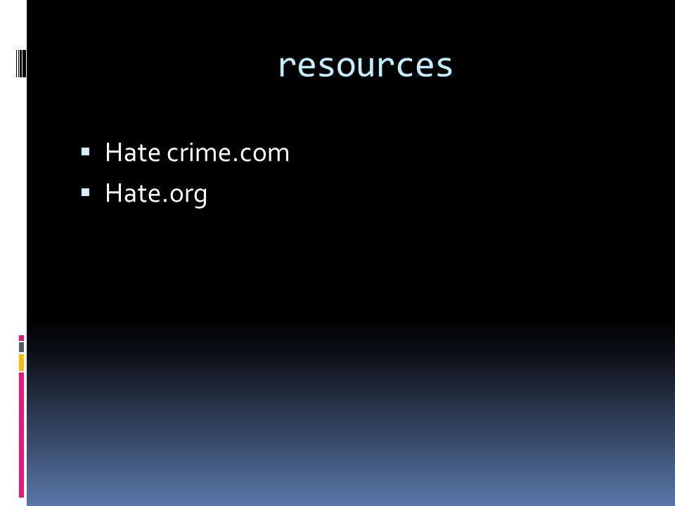 resources  Hate crime.com  Hate.org