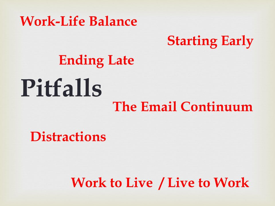 Ending Late Starting Early The Email Continuum Work to Live / Live to Work Distractions Pitfalls Work-Life Balance