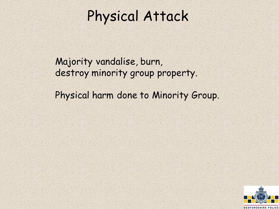 Majority vandalise, burn, destroy minority group property. Physical harm done to Minority Group.