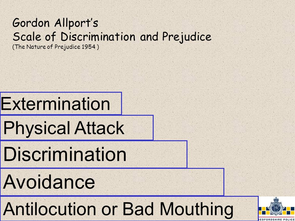 Antilocution or Bad Mouthing Gordon Allport's Scale of Discrimination and Prejudice (The Nature of Prejudice 1954 ) Discrimination Physical Attack Extermination Avoidance