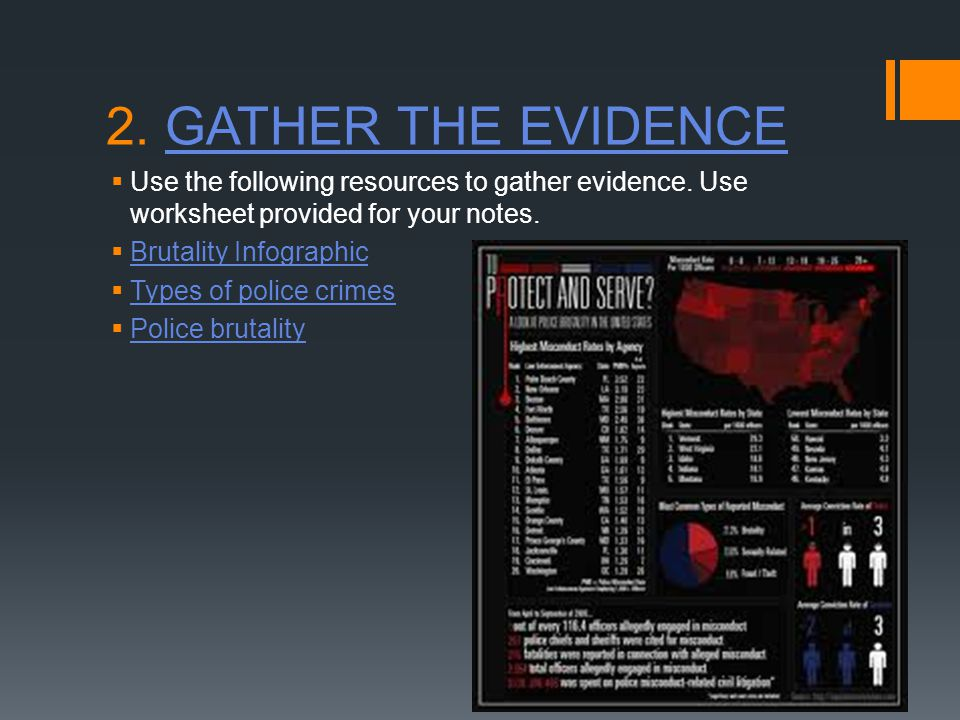 2. GATHER THE EVIDENCEGATHER THE EVIDENCE  Use the following resources to gather evidence.